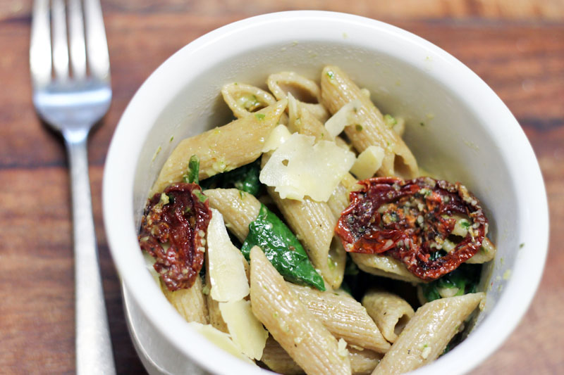 pesto pasta recipe with slow roasted tomatoes