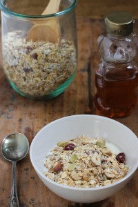 Homemade Muesli with yogurt and honey