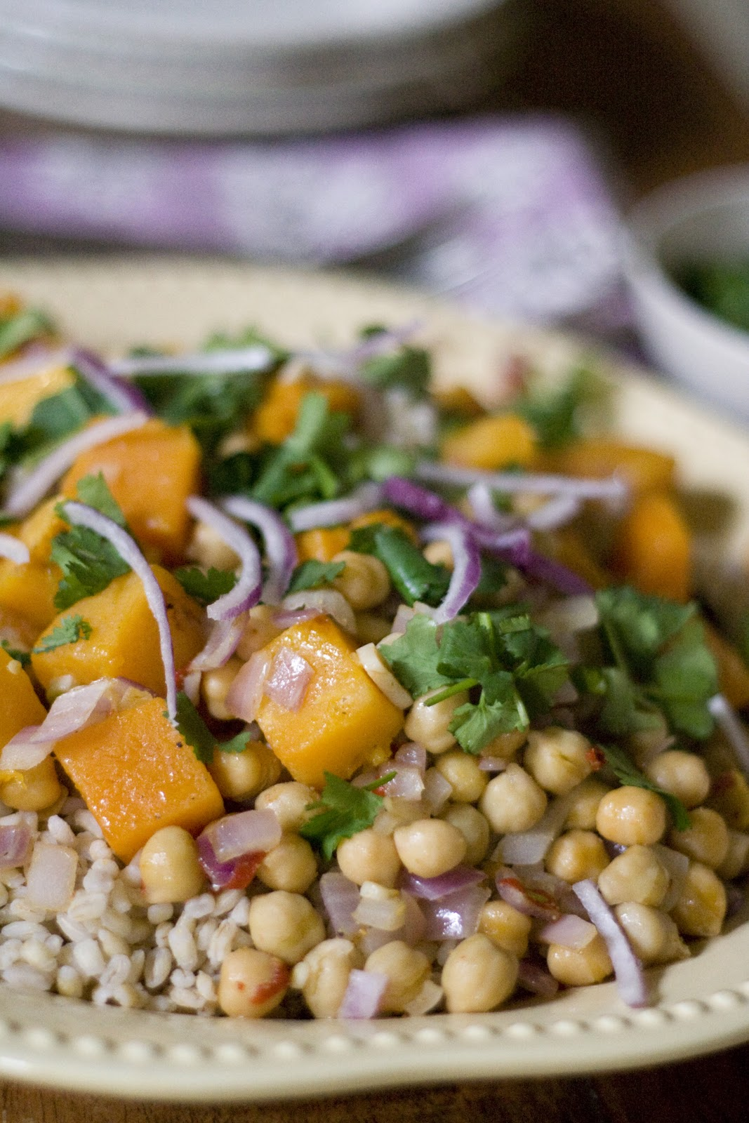 Roasted Butternut Squash over Farro and Chickpeas with Toasted Cumin ...