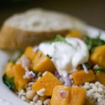 Roasted Butternut Squash over Farro and Chickpeas with Toasted Cumin Yogurt Dressing