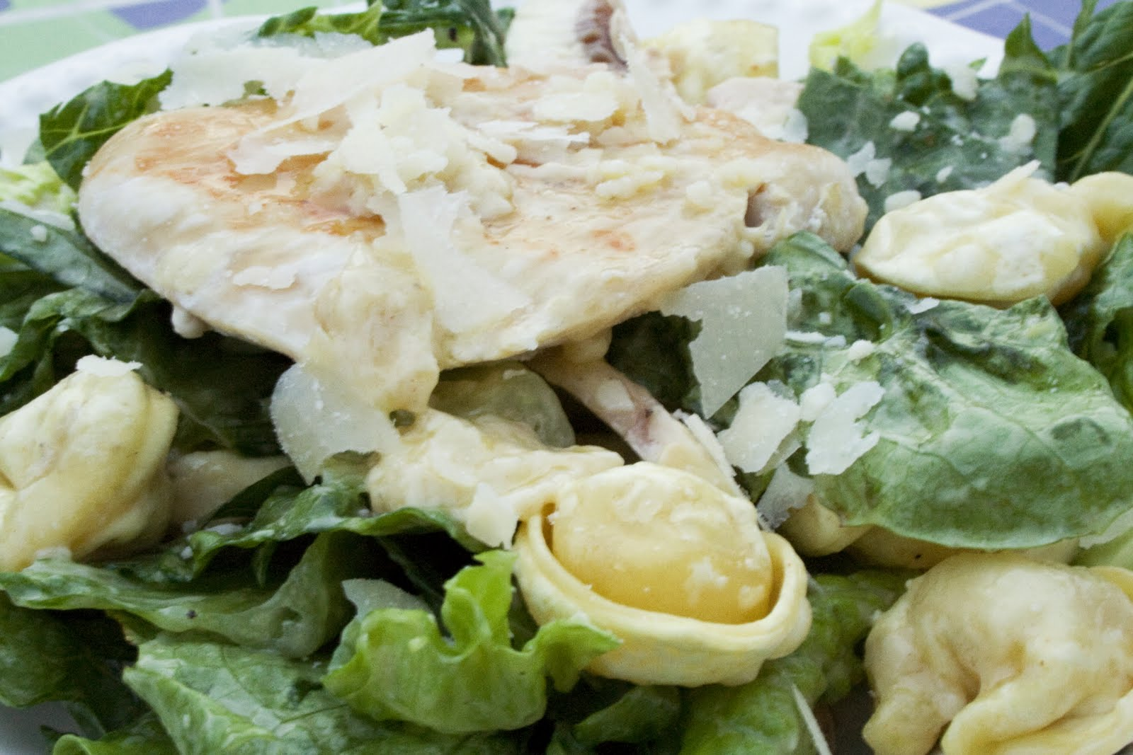 Caesar Salad with Tortellini Croutons