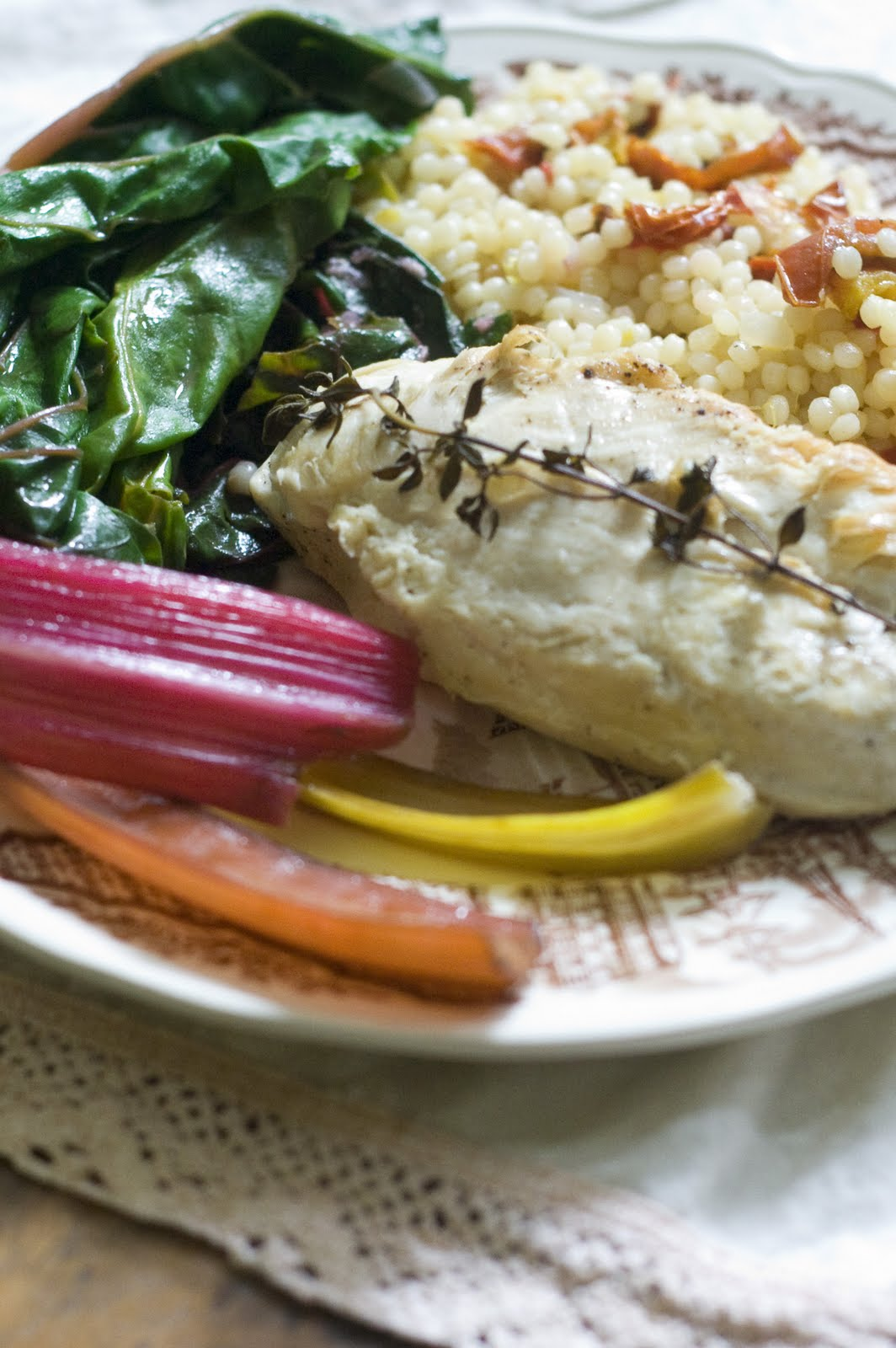 Pan seared chicken over israeli couscous with roasted tomatoes and go outside eat more greens work in the garden try new healthy foods these are just a few of the to dos on my list at least forumfinder Gallery