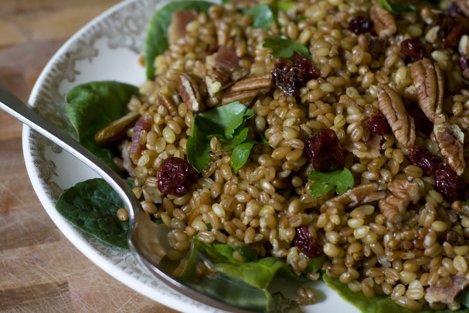 Wheat Berry Salad Recipe with Bacon, Pecans, Spinach & Sun-dried ...