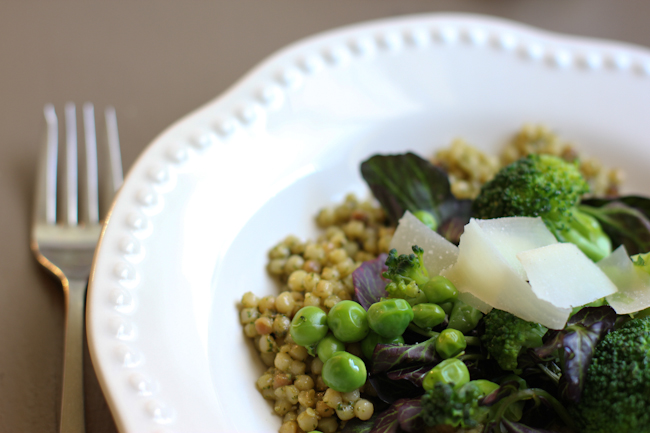 Israeli Couscous with pesto, watercress, peas, broccoli