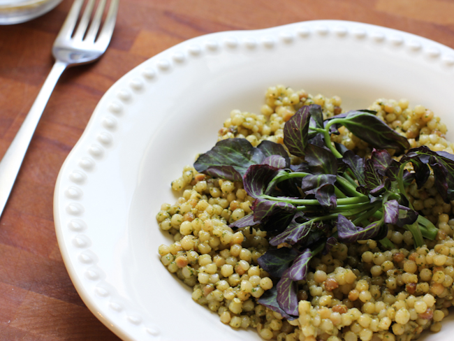 couscous with pesto and watercress