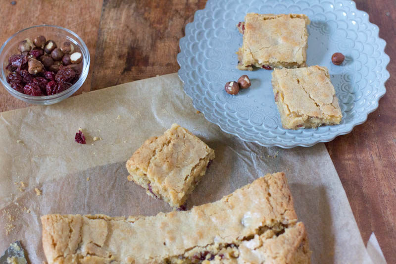 Hazelnut and Cherry Brown Butter Bar Recipe | Vintage Mixer