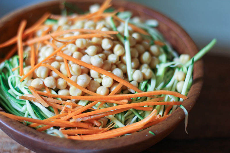 Zucchini Noodle Salad with Chickpeas and Chinese Spiced Peanut Sauce