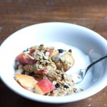 Blueberry Pistachio Granola Recipe with Fresh Peaches and Yogurt