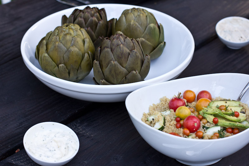 steamed artichokes and quinoa salad