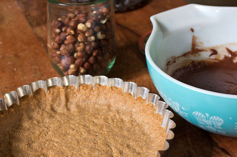 Chocolate Hazelnut Pie Recipe with Gingersnap Crust
