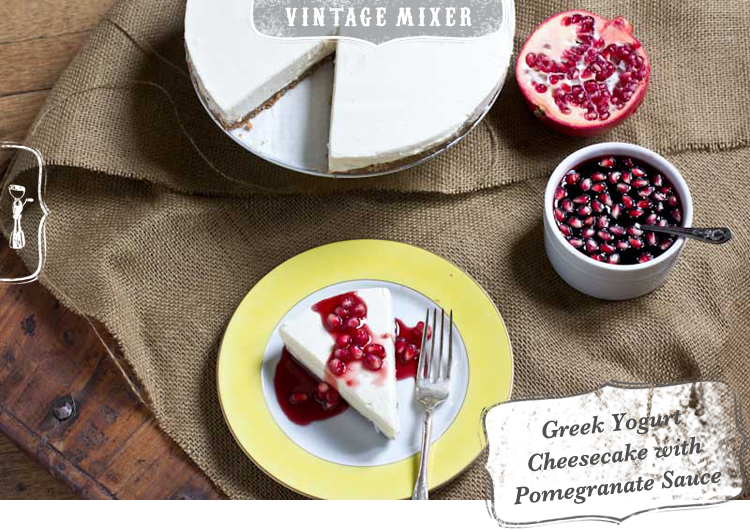 Greek Yogurt Cheesecake Recipe with Pomegranate Sauce 