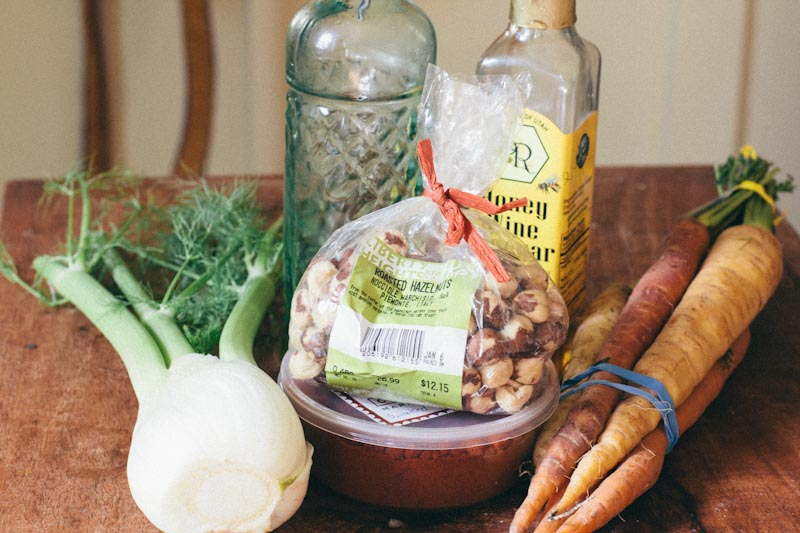 Spanish Carrots Recipe with Fennel, Hazelnuts and Slide Ridge Honey Wine Vinegar