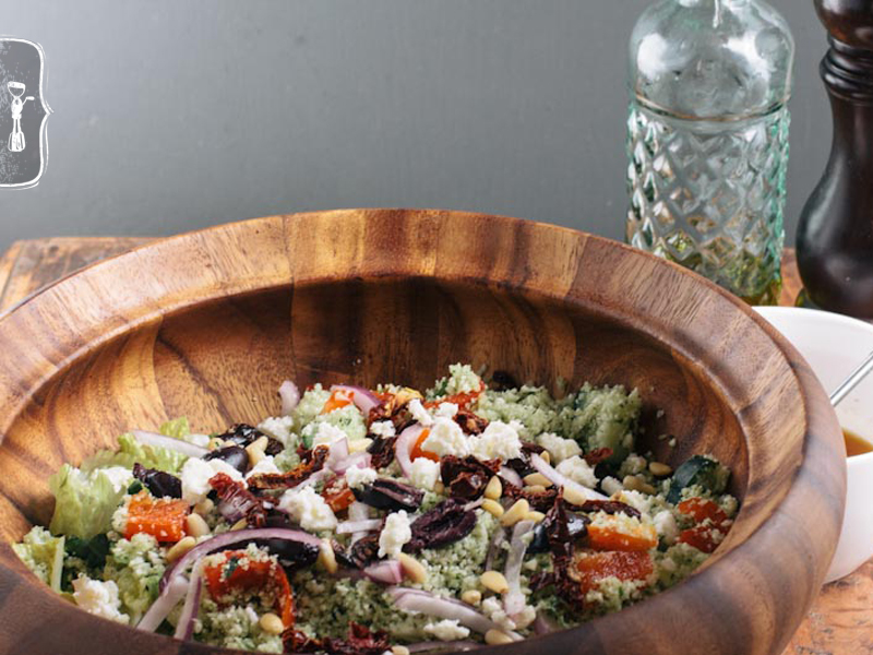 Raw Cauliflower &#8220;Couscous&#8221; Greek Salad