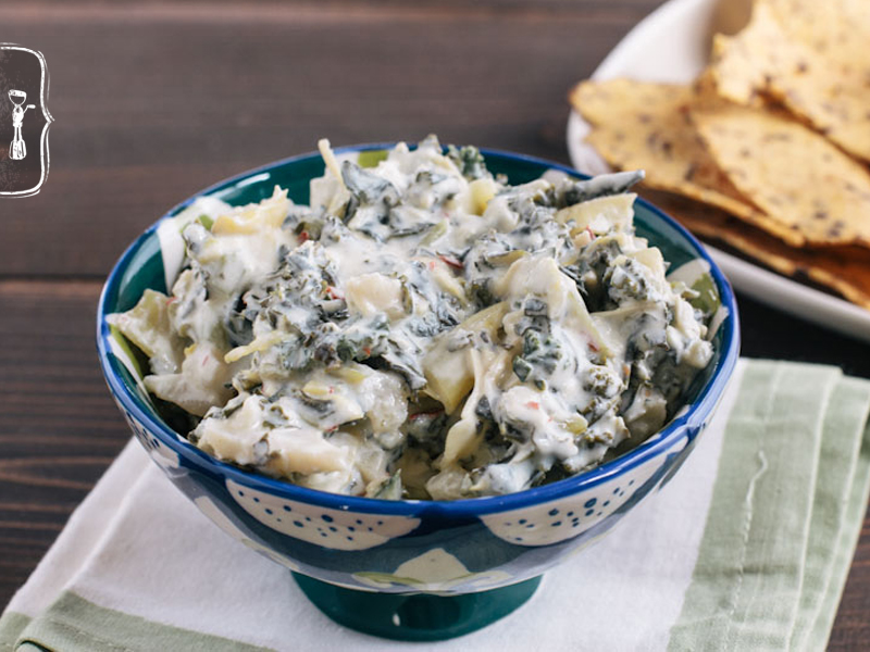 Kale Artichoke Dip with Greek Yogurt