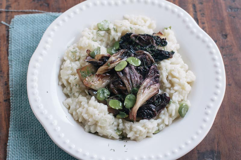 Fava Bean and Fennel Risotto with Sauted Radicchio + GIVEAWAY to Liberty Heights Fresh