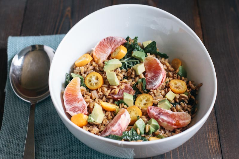 Farro Salad with Blood Oranges, Kumquats, Beets and Avocado