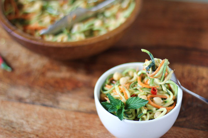 Zucchini Noodle Salad with Spicy Peanut Sauce • Farmers Market Recipe