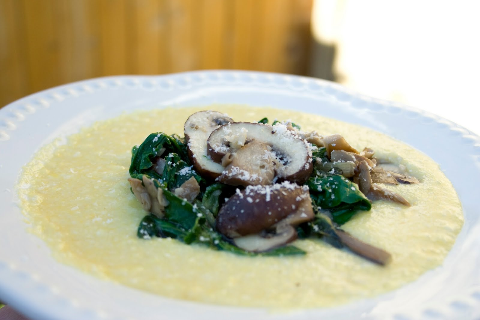 Polenta with Eggs, Oyster Mushrooms and Swiss Chard • Farmers Market Recipe