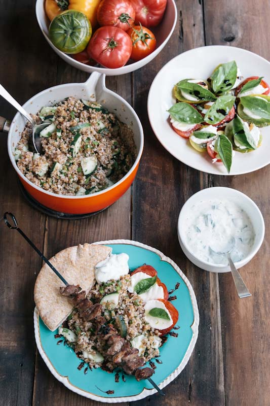 Lamb Souvlaki Recipe with Bulgar Salad