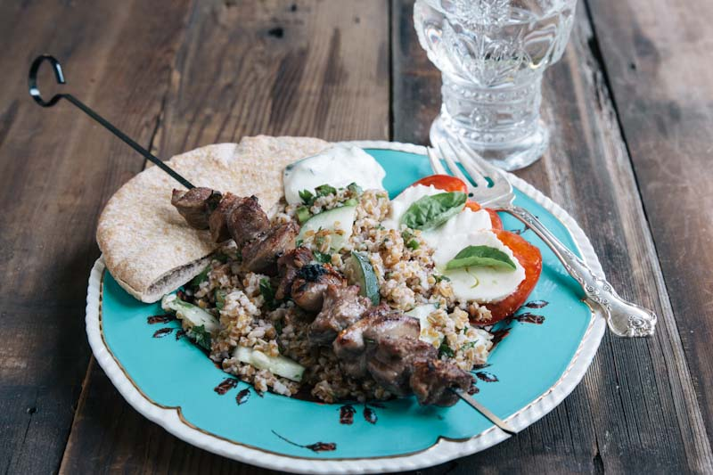 Lamb Souvlaki Recipe with Bulgur Salad