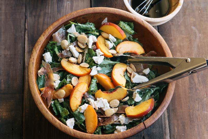 Peach and Prosciutto Salad Recipe with Goat Cheese and Marcona Almonds