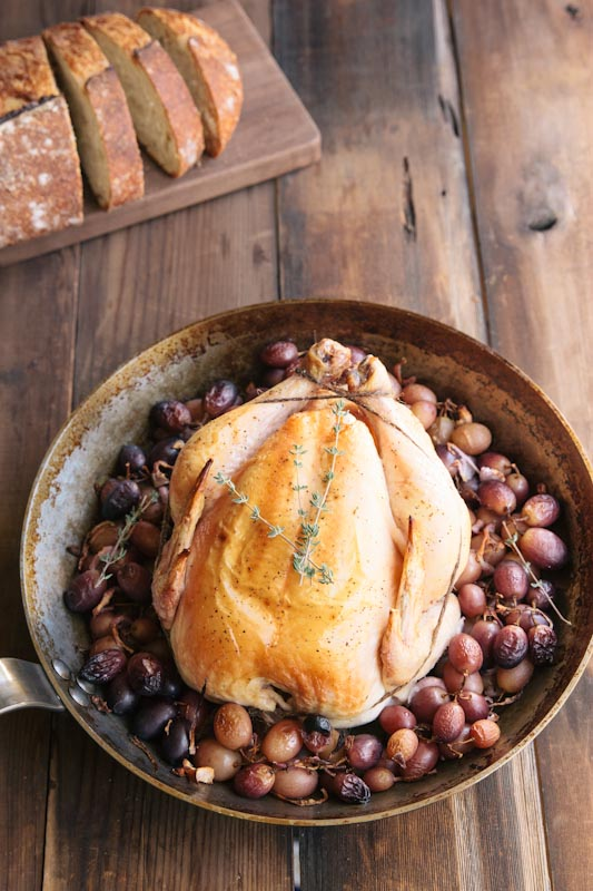 Roasted Chicken and Grapes over Polenta
