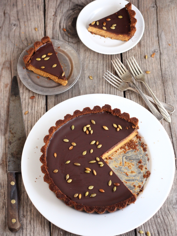 Chocolate Pumpkin Tart Recipe from Completely Delicious