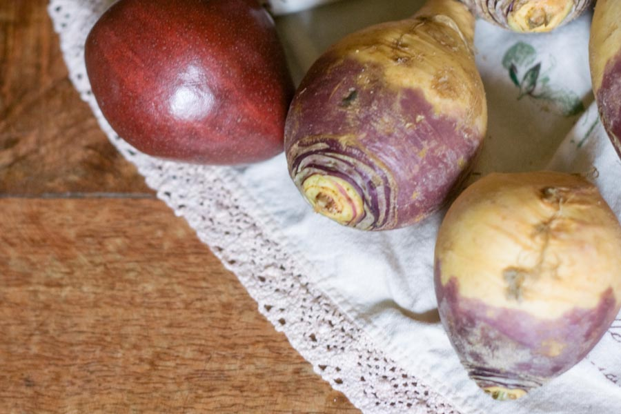 Thanksgiving Side Dish Recipe Mashed Rutabaga with Ginger Roasted Pears