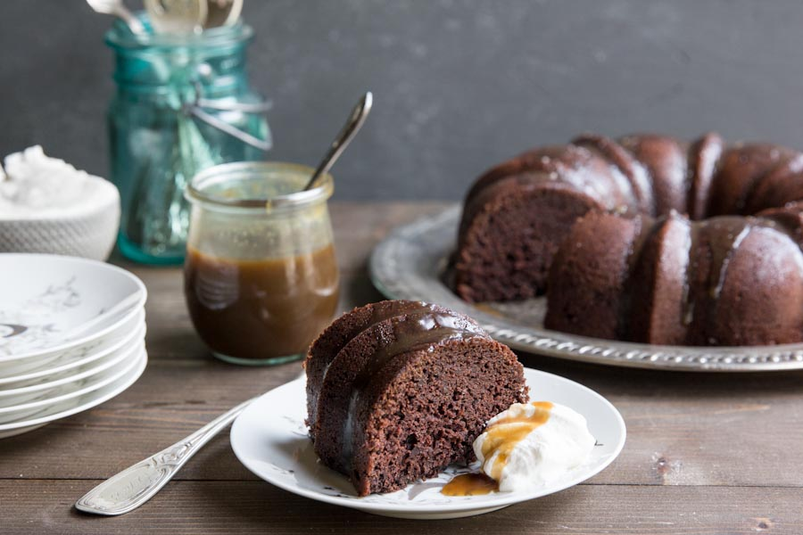 Chocolate Bundt Cake with Whiskey Caramel Sauce