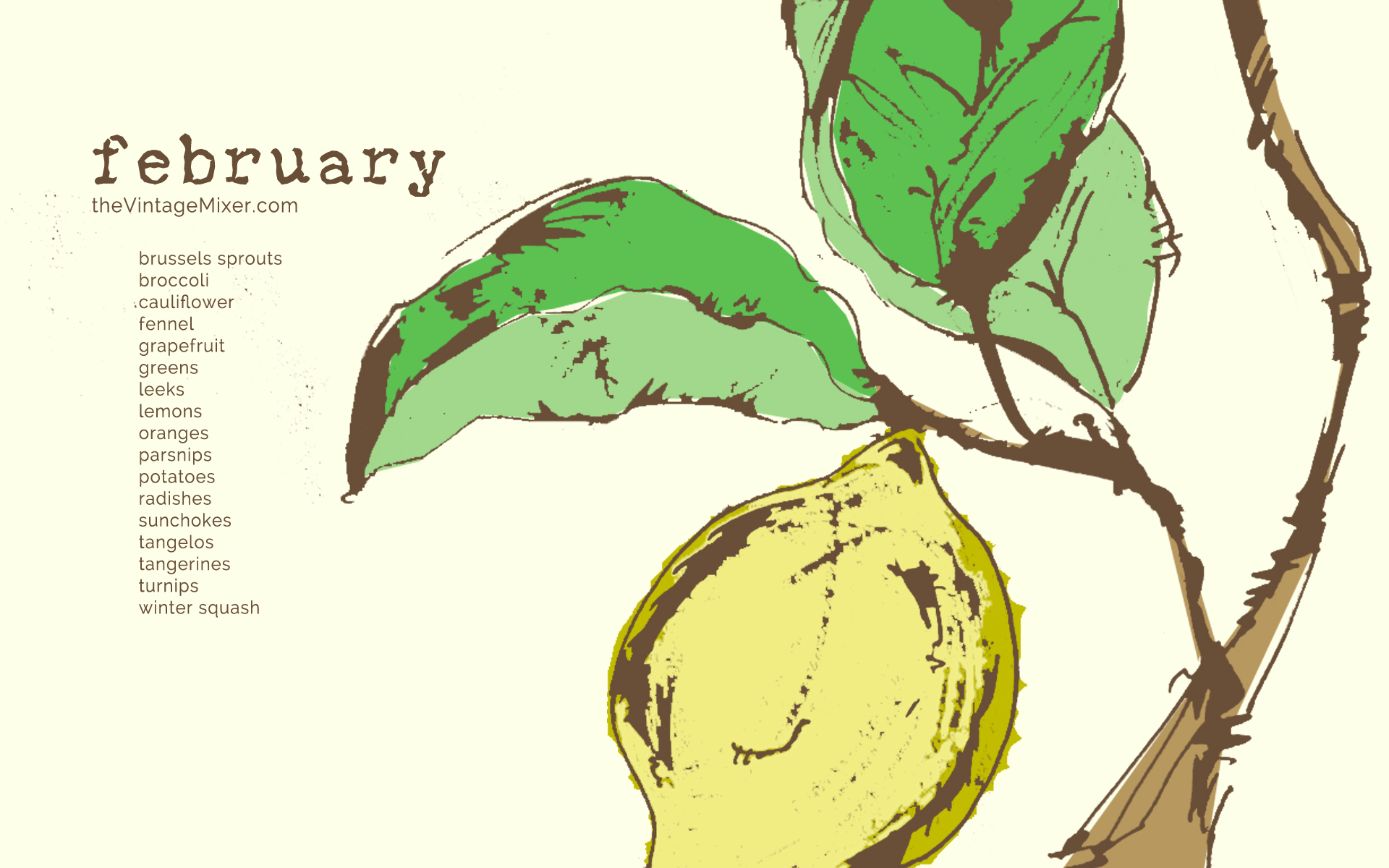February Seasonal Produce Guide for Desktop Wallpaper