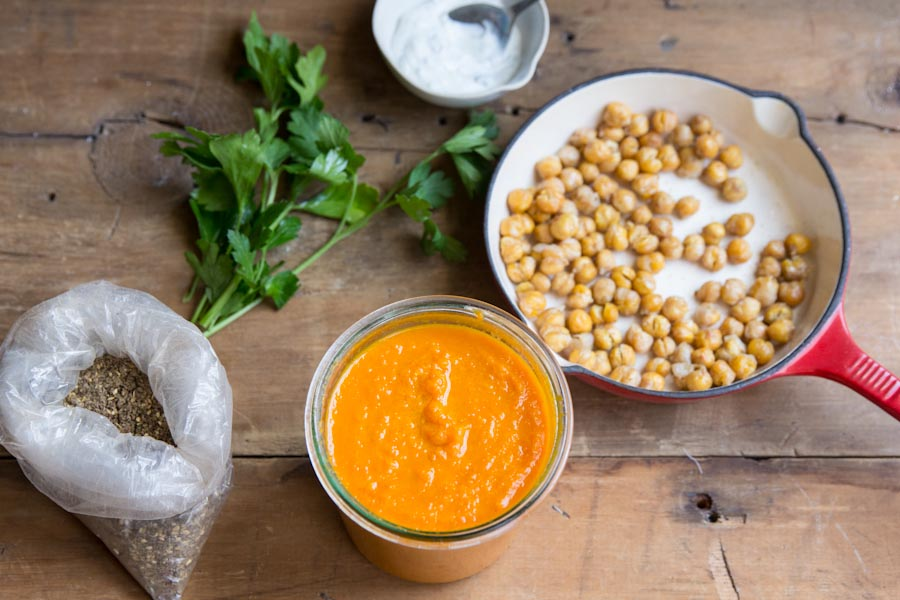 Carrot Soup Recipe with Roasted Chickpeas