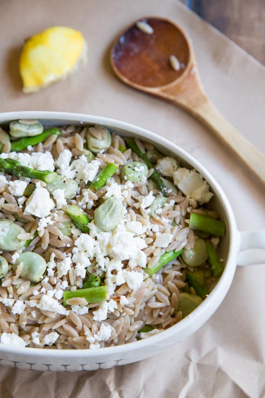 Fava Bean and Asparagus Orzo Salad Recipe • theVintageMixer.com