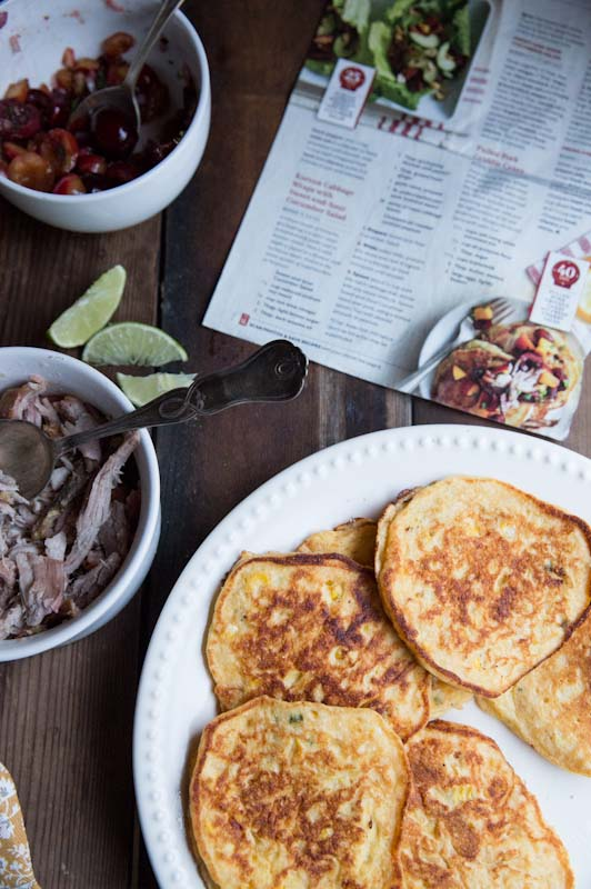 Fresh Corn Cakes with Pulled Pork and Cherry Salsa • theVintageMixer.com