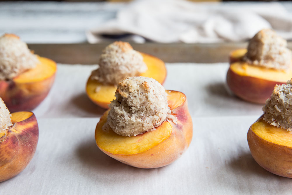 Coconut Macaroon Filled Peaches