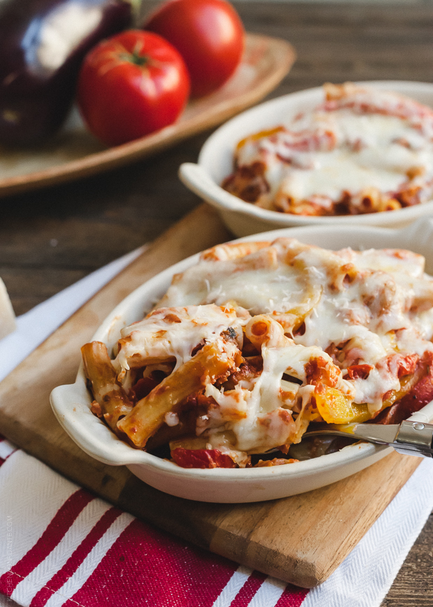Baked Ziti with Roasted Eggplant and Peppers | www.kitchenconfidante.com