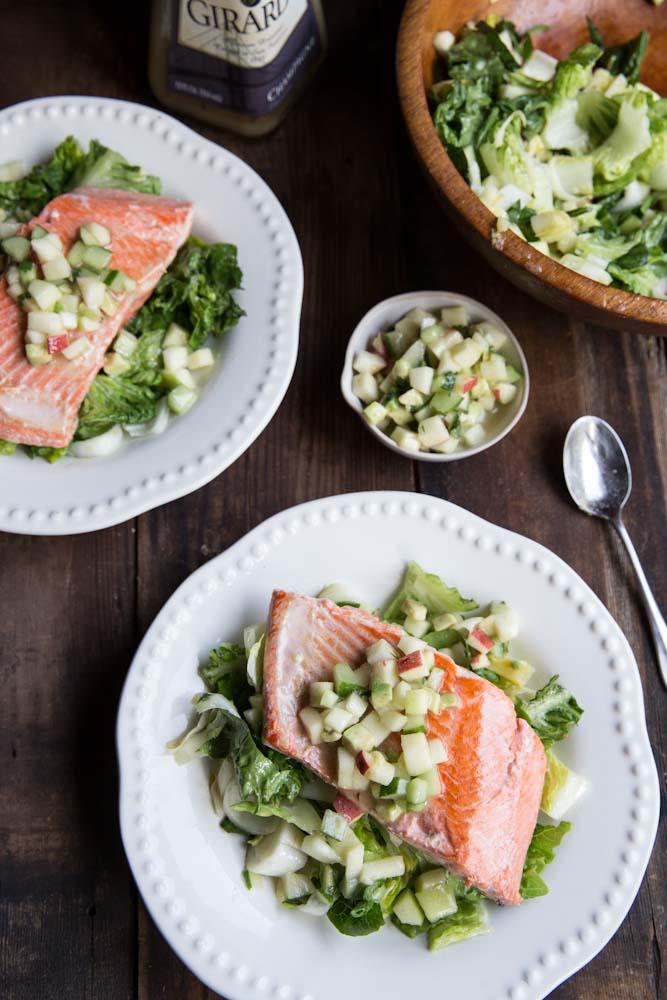 Salmon with apple cucumber avocado salsa
