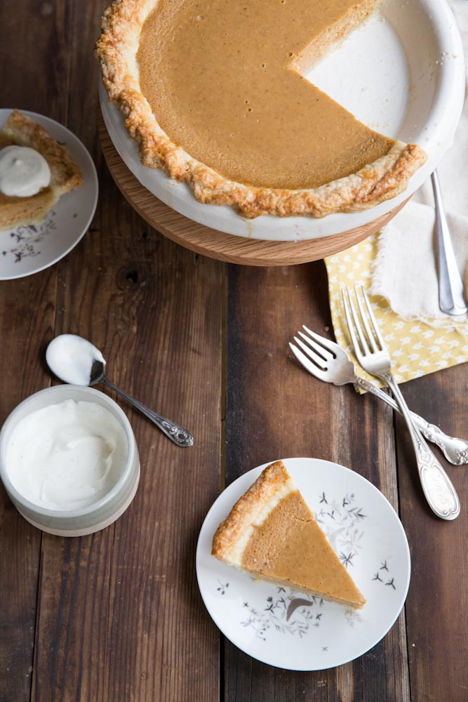 Pumpkin Sweet Potato Pie with vanilla bean and pure maple syrup • theVintageMixer.com #pie #Thanksgiving