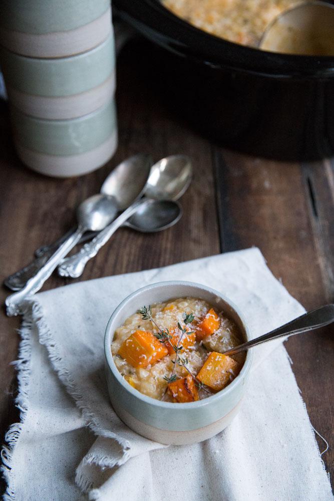 Slow Cooker Butternut Squash Risotto • theVintageMixer.com