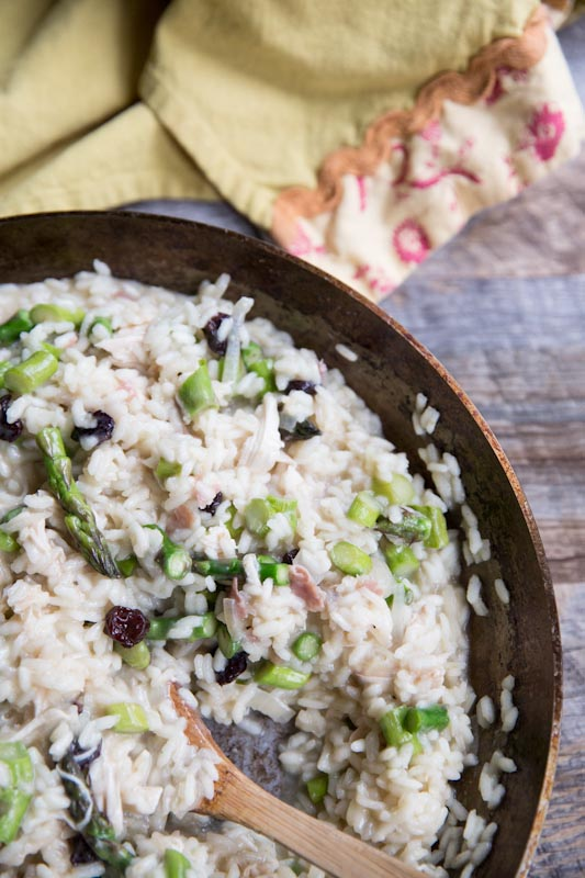 Asparagus and Sun Dried Cherry Risotto • theVintageMixer.com #dinner