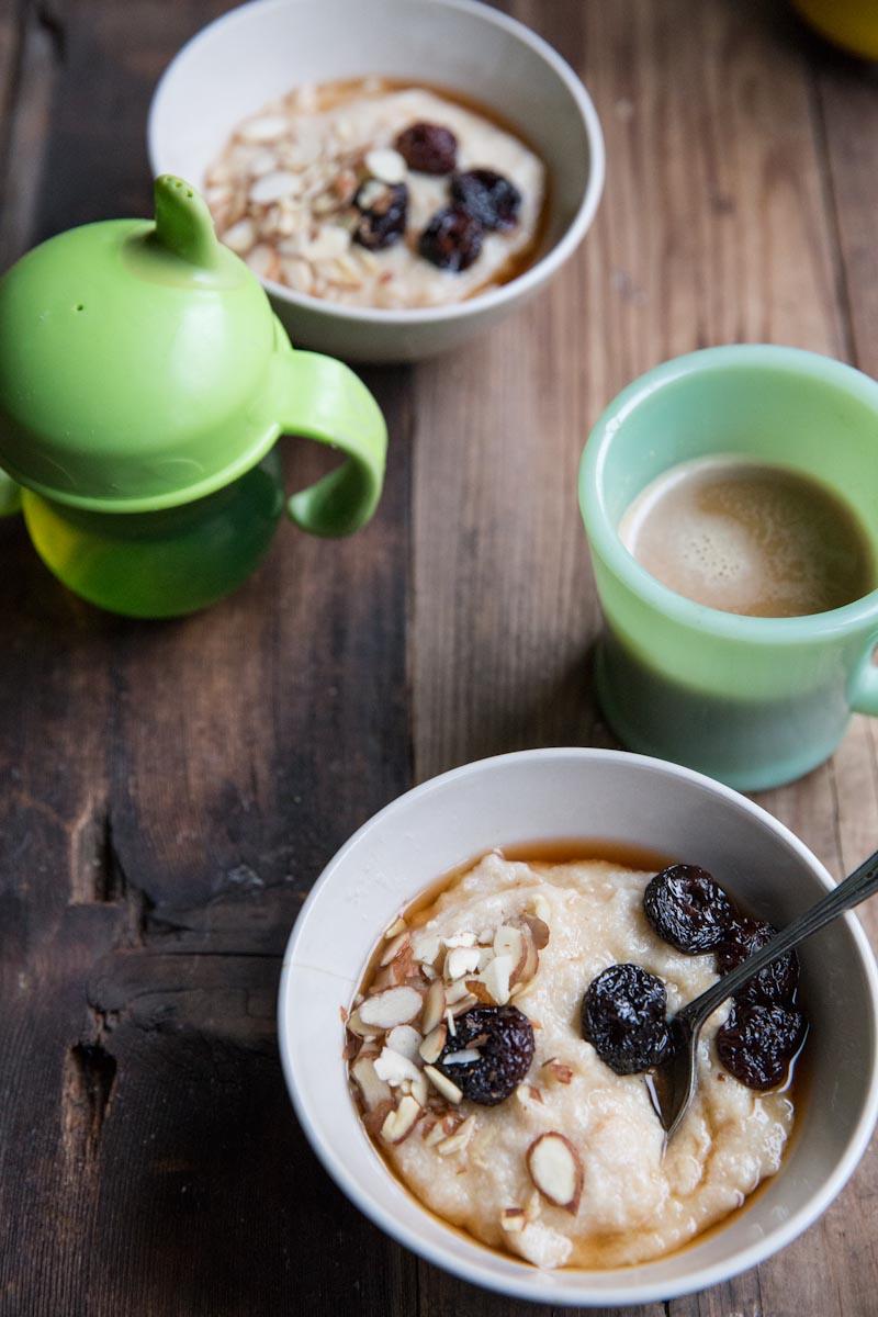 Farro Porridge Recipes with Brown Sugar Soaked Cherries and Almonds • theVintageMixer.com #porridge