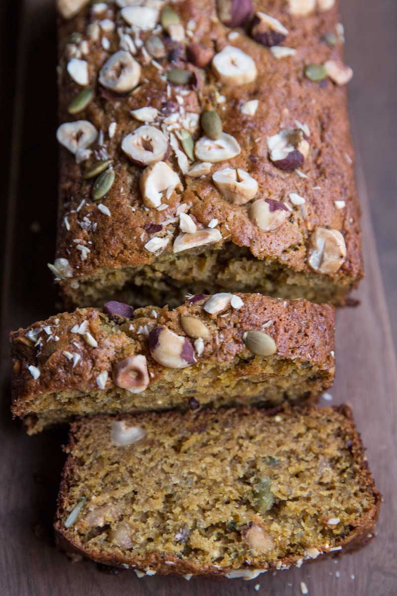 acorn squash bread recipe with seeds and nuts • theVintageMixer.com #bread