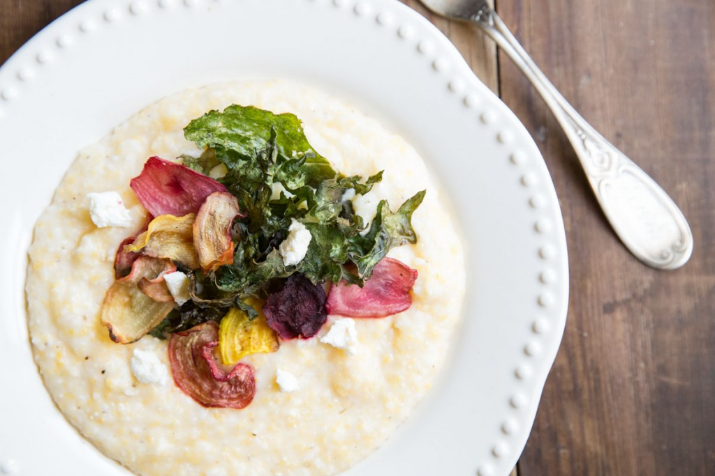 Goat Cheese Polenta with Crispy Beets and Kale • theVintageMixer.com #vegetarian #eatseasonal