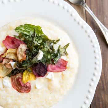 Goat Cheese Polenta with Crispy Beets and Kale •theVintageMixer.com #vegetarian #eatseasonal
