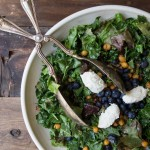 Kale Caesar Salad with Blueberries and Lemon Ricotta