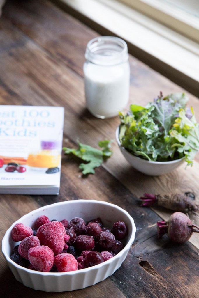 Smoothie Bowl Recipe with Cherries, Berries, Beets, and Kale • theVintageMixer.com #smoothie