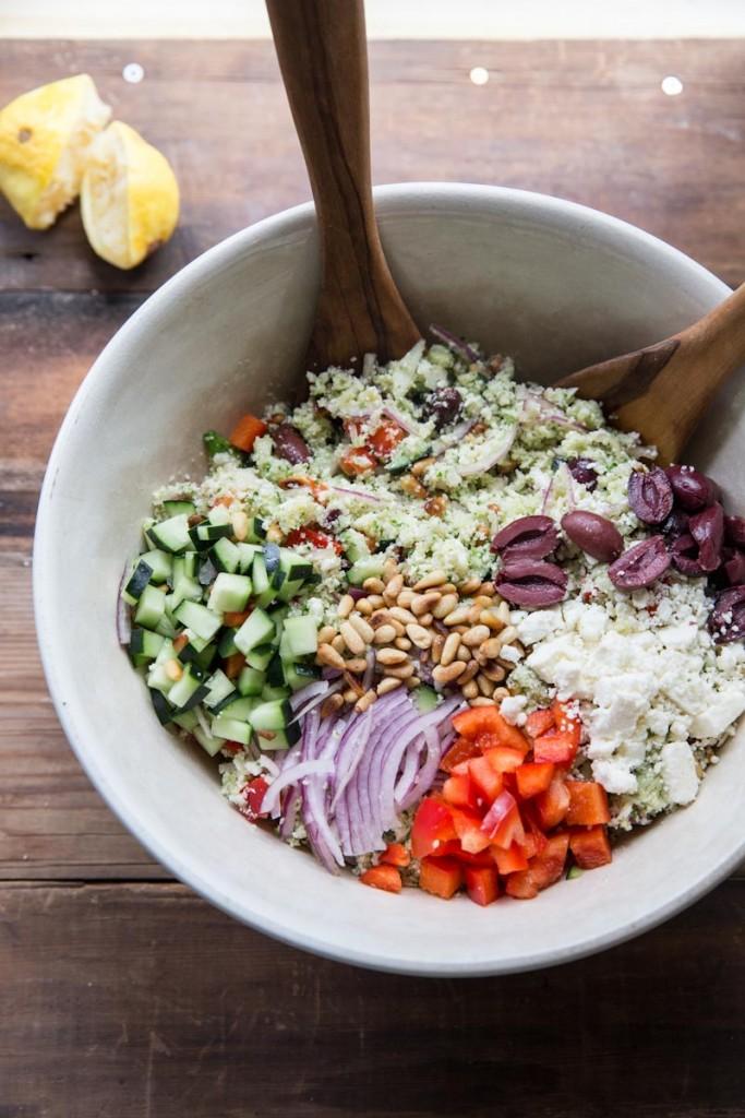 Cauliflower Couscous Greek Salad Recipe • theVintageMixer.com # ...