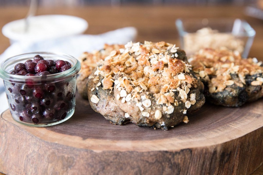 Sprouted Whole Wheat Bagels with Wild Blueberries • theVintageMixer.com #bagels #sproutedwheat #wholewheat #healthyrecipe #bread