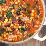 Turkey Chili with Kale • theVintageMixer.com #chili #healthyrecipe #cleaneating