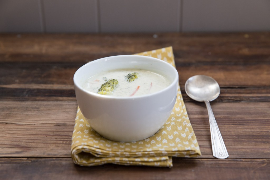 Creamy Broccoli and Cheese Soup Recipe • theVintageMixer.com #soup #broccolisoup