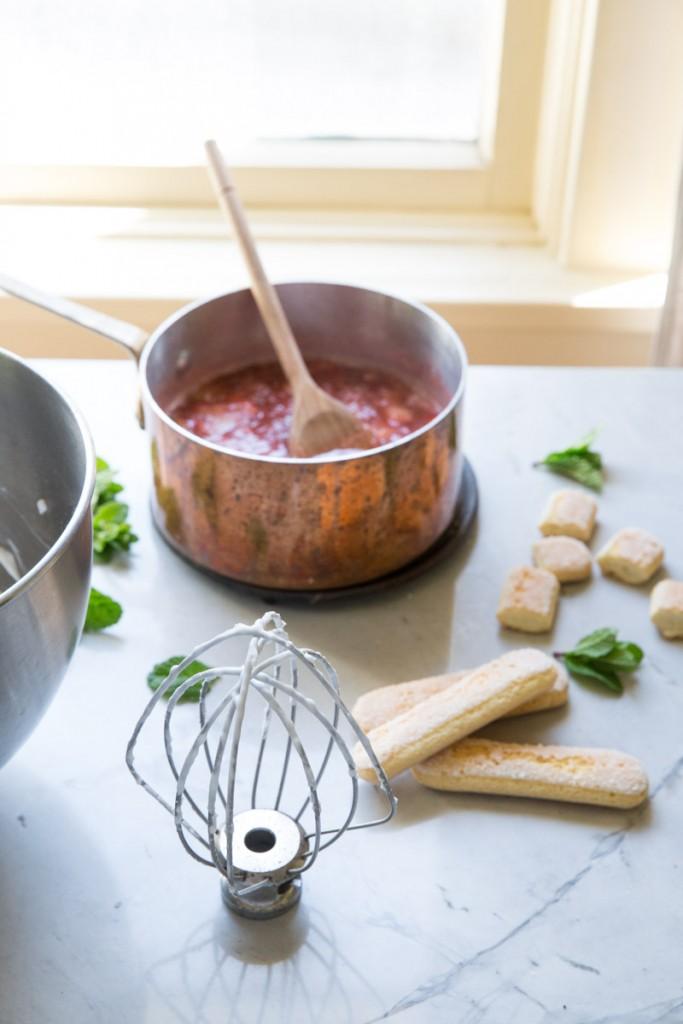 Rhubarb Eton Mess with Coconut Whipped Cream • theVintageMixer.com #dairyfree #eatseasonal #rhubarb